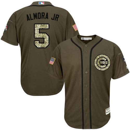 Cubs #5 Albert Almora Jr. Green Salute to Service Stitched Youth MLB Jersey