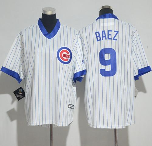 Cubs #9 Javier Baez White(Blue Strip) Cooperstown Stitched Youth MLB Jersey