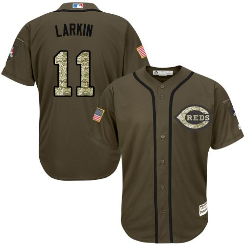 Reds #11 Barry Larkin Green Salute to Service Stitched Youth MLB Jersey