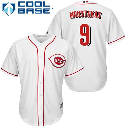 Reds #9 Mike Moustakas White New Cool Base Stitched Youth MLB Jersey