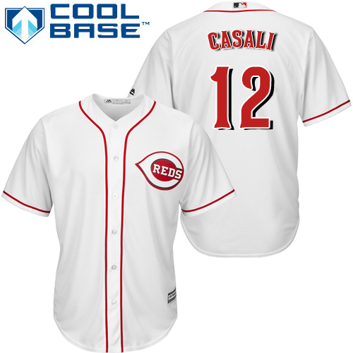 Reds #12 Curt Casali White New Cool Base Stitched Youth MLB Jersey