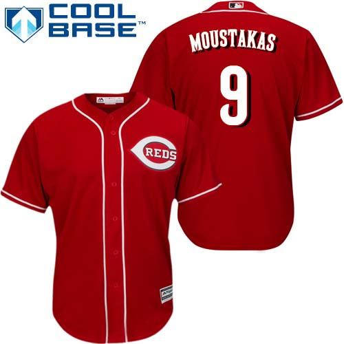 Reds #9 Mike Moustakas Red New Cool Base Stitched Youth MLB Jersey