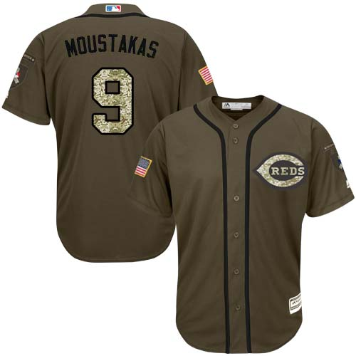Reds #9 Mike Moustakas Green Salute to Service Stitched Youth MLB Jersey