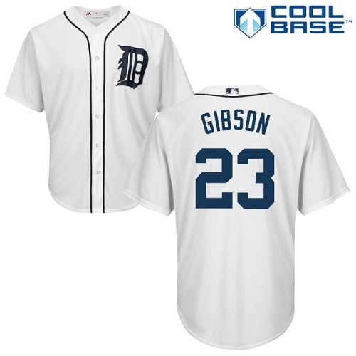 Tigers #23 Kirk Gibson White Cool Base Stitched Youth MLB Jersey