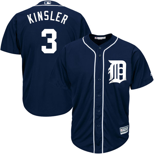 Tigers #3 Ian Kinsler Navy Blue Cool Base Stitched Youth MLB Jersey
