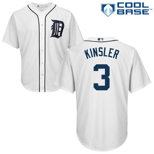 Tigers #3 Ian Kinsler White Cool Base Stitched Youth MLB Jersey