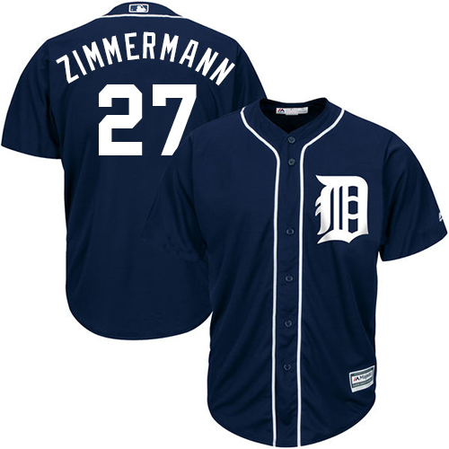 Tigers #27 Jordan Zimmermann Navy Blue Cool Base Stitched Youth MLB Jersey