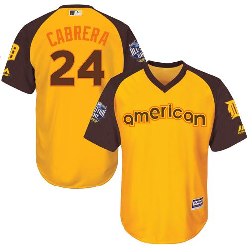 Tigers #24 Miguel Cabrera Gold 2016 All-Star American League Stitched Youth MLB Jersey
