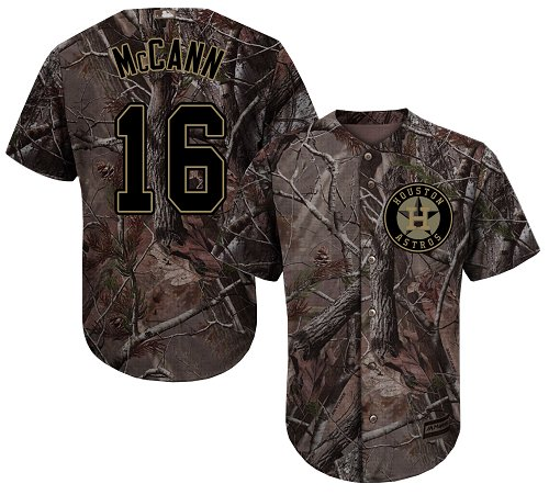 Astros #16 Brian McCann Camo Realtree Collection Cool Base Stitched Youth MLB Jersey