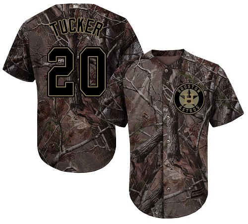Astros #20 Preston Tucker Camo Realtree Collection Cool Base Stitched Youth MLB Jersey