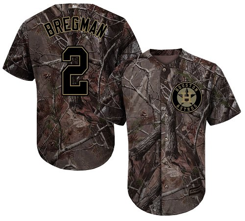 Astros #2 Alex Bregman Camo Realtree Collection Cool Base Stitched Youth MLB Jersey