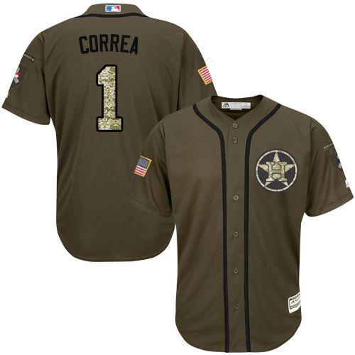 Astros #1 Carlos Correa Green Salute to Service Stitched Youth MLB Jersey