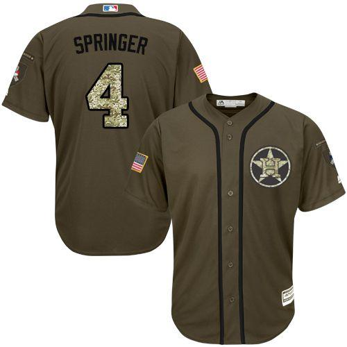 Astros #4 George Springer Green Salute to Service Stitched Youth MLB Jersey