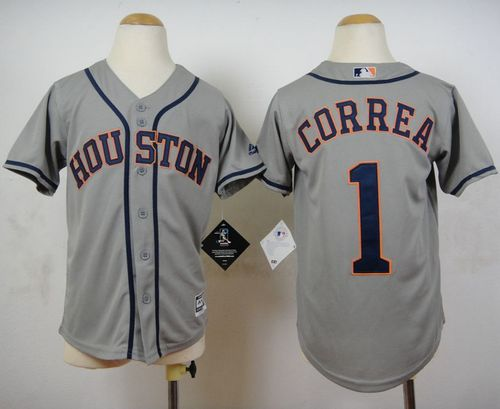Astros #1 Carlos Correa Grey Cool Base Stitched Youth MLB Jersey