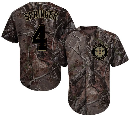 Astros #4 George Springer Camo Realtree Collection Cool Base Stitched Youth MLB Jersey