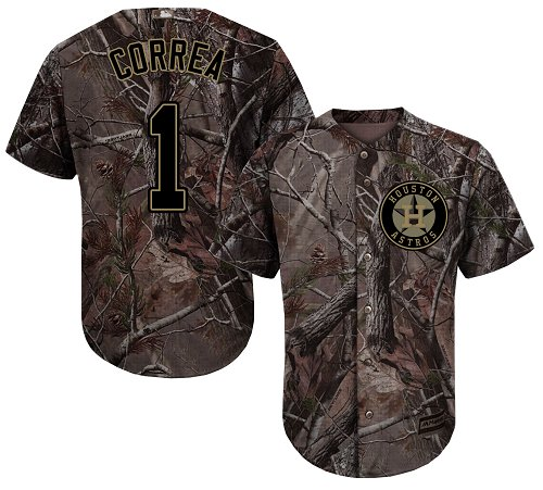 Astros #1 Carlos Correa Camo Realtree Collection Cool Base Stitched Youth MLB Jersey