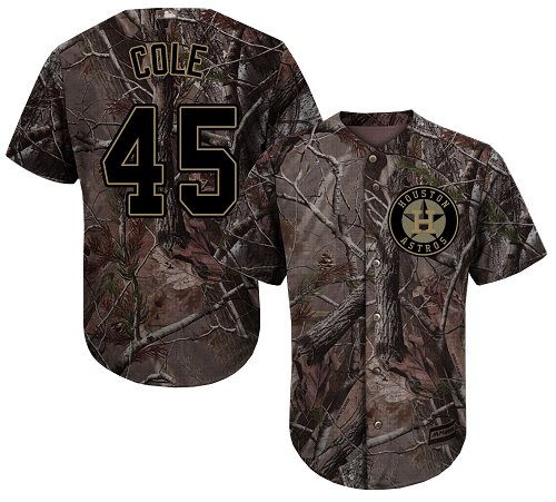 Astros #45 Gerrit Cole Camo Realtree Collection Cool Base Stitched Youth MLB Jersey