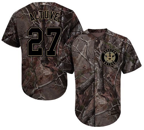 Astros #27 Jose Altuve Camo Realtree Collection Cool Base Stitched Youth MLB Jersey