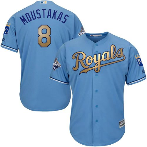 Royals #8 Mike Moustakas Light Blue 2015 World Series Champions Gold Program Cool Base Stitched Youth MLB Jersey