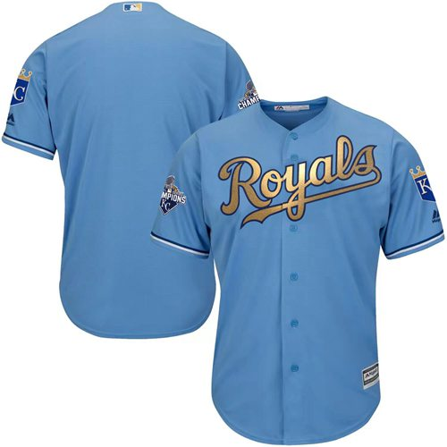 Royals Blank Light Blue 2015 World Series Champions Gold Program Cool Base Stitched Youth MLB Jersey