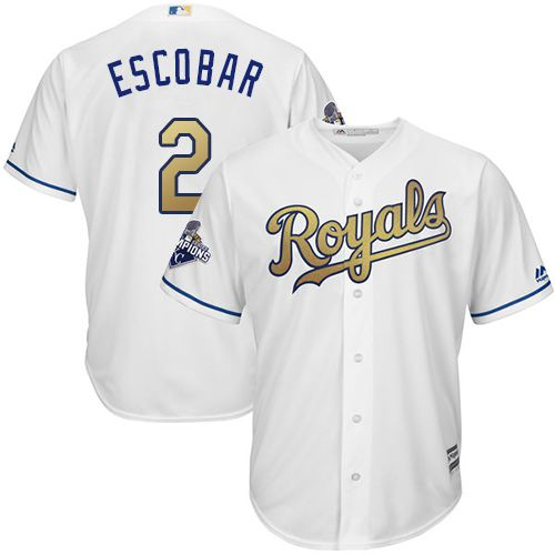 Royals #2 Alcides Escobar White 2015 World Series Champions Gold Program Cool Base Stitched Youth MLB Jersey