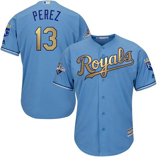 Royals #13 Salvador Perez Light Blue 2015 World Series Champions Gold Program Cool Base Stitched Youth MLB Jersey