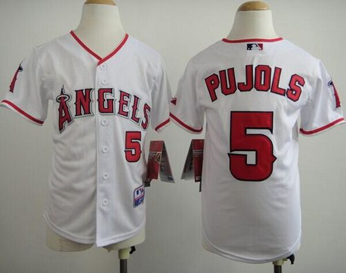 Angels #5 Albert Pujols White Stitched Youth MLB Jersey