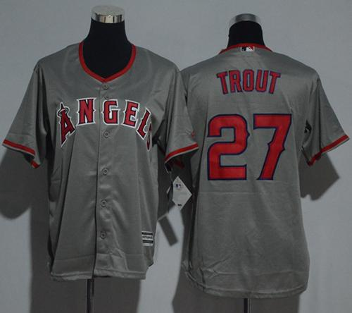 Angels #27 Mike Trout Grey Cool Base Stitched Youth MLB Jersey