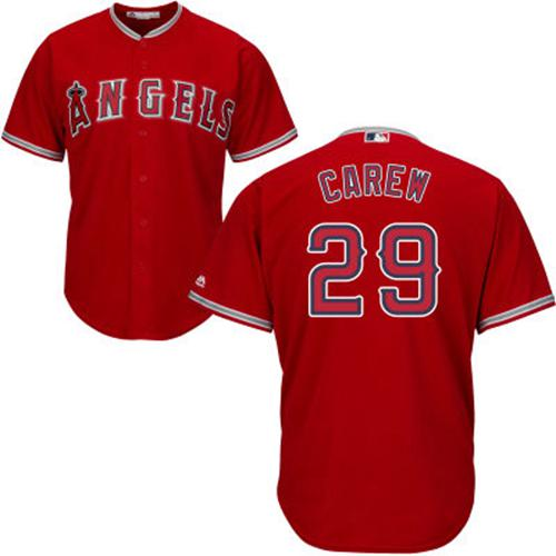 Angels #29 Rod Carew Red Cool Base Stitched Youth MLB Jersey
