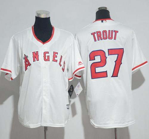 Angels #27 Mike Trout White Cool Base Stitched Youth MLB Jersey