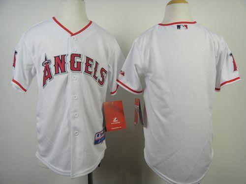 Angels Blank White Cool Base Stitched Youth MLB Jersey