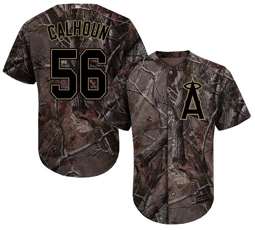 Angels #56 Kole Calhoun Camo Realtree Collection Cool Base Stitched Youth MLB Jersey