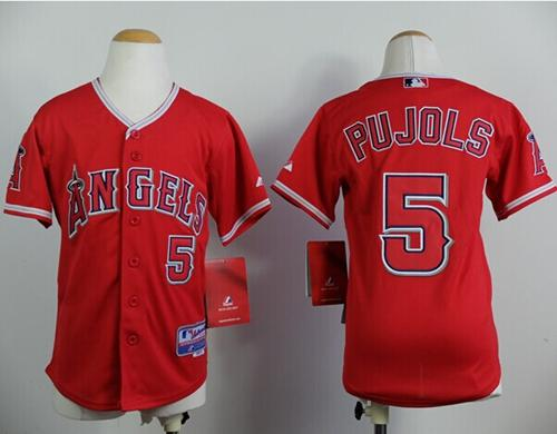 Angels #5 Albert Pujols Red Stitched Youth MLB Jersey