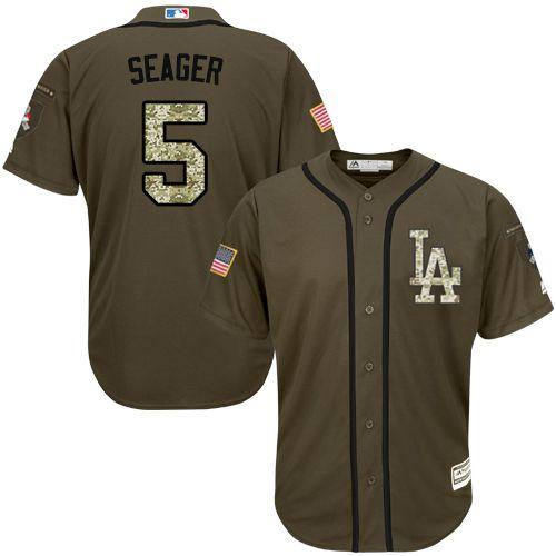 Dodgers #5 Corey Seager Green Salute to Service Stitched Youth MLB Jersey