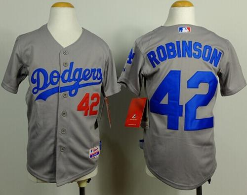 Dodgers #42 Jackie Robinson Grey Cool Base Stitched Youth MLB Jersey