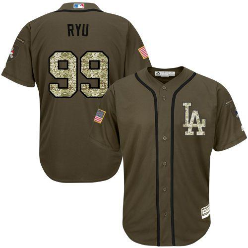 Dodgers #99 Hyun-Jin Ryu Green Salute to Service Stitched Youth MLB Jersey