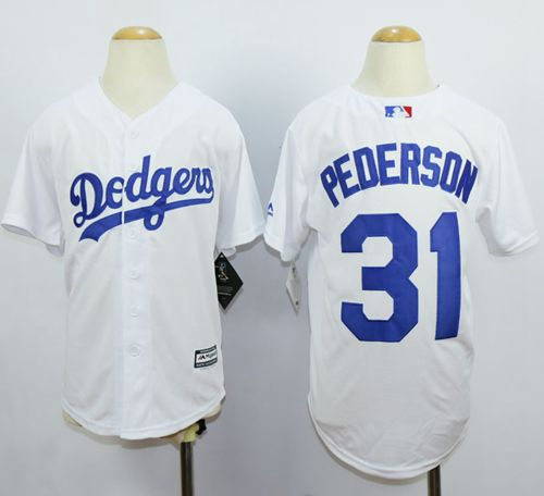 Dodgers #31 Joc Pederson White Cool Base Stitched Youth MLB Jersey