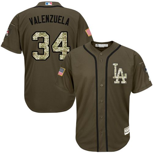 Dodgers #34 Fernando Valenzuela Green Salute to Service Stitched Youth MLB Jersey