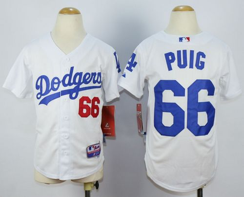 Dodgers #66 Yasiel Puig White Cool Base Stitched Youth MLB Jersey