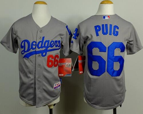 Dodgers #66 Yasiel Puig Grey Cool Base Stitched Youth MLB Jersey