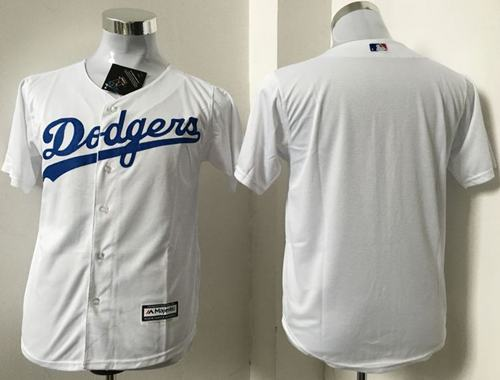 Dodgers Blank White Cool Base Stitched Youth MLB Jersey