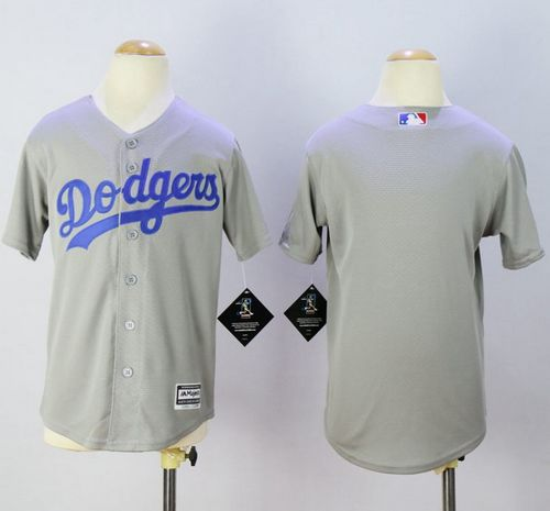 Dodgers Blank Grey Cool Base Stitched Youth MLB Jersey