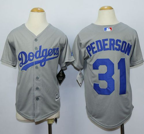 Dodgers #31 Joc Pederson Grey Cool Base Stitched Youth MLB Jersey