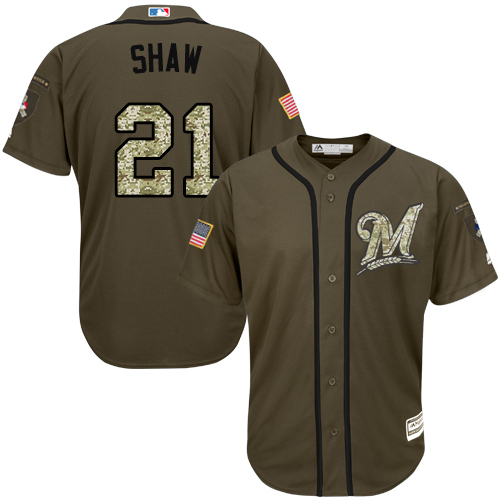 Brewers #21 Travis Shaw Green Salute to Service Stitched Youth MLB Jersey
