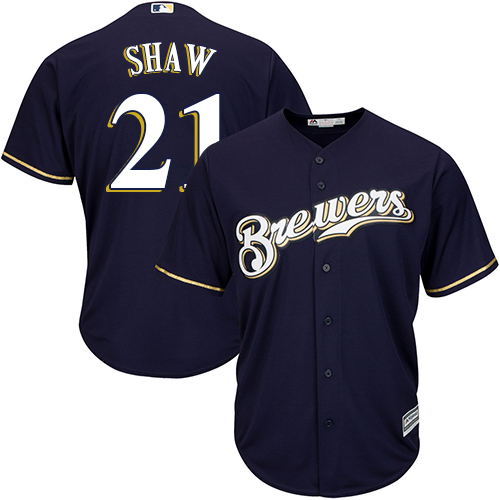 Brewers #21 Travis Shaw Navy blue Cool Base Stitched Youth MLB Jersey