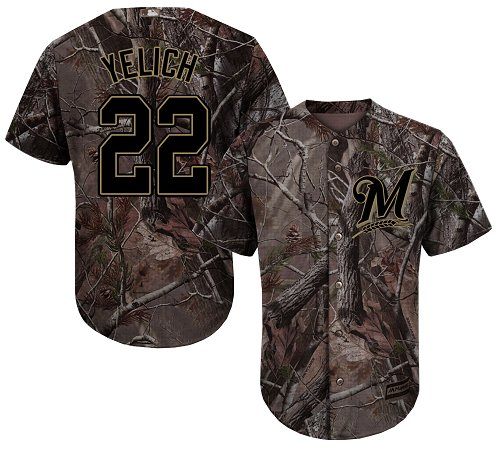 Brewers #22 Christian Yelich Camo Realtree Collection Cool Base Stitched Youth MLB Jersey