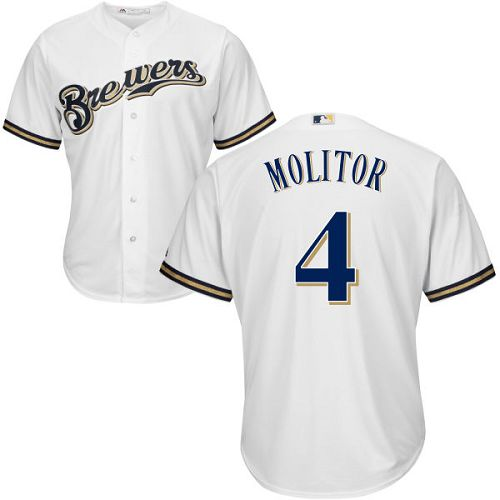 Brewers #4 Paul Molitor White Cool Base Stitched Youth MLB Jersey