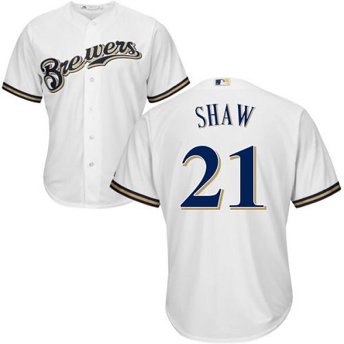 Brewers #21 Travis Shaw White Cool Base Stitched Youth MLB Jersey
