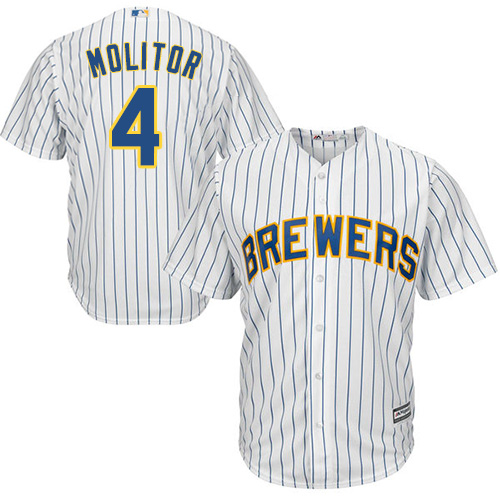 Brewers #4 Paul Molitor White Strip Cool Base Stitched Youth MLB Jersey