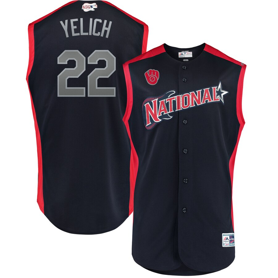 National League #22 Christian Yelich Majestic Youth 2019 MLB All-Star Game Player Jersey Navy